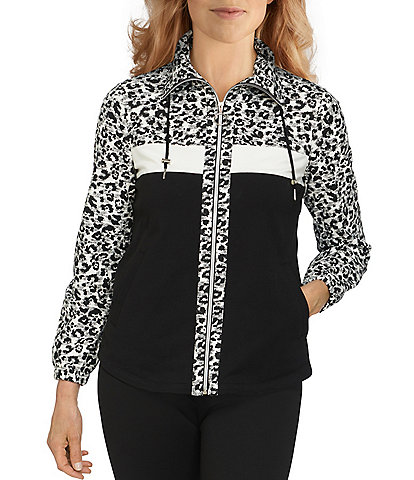 Ruby Rd. Petite Size Leopard Print Color Block Drawstring Wing Collar Neck Long Sleeve French Terry Zip-Up Jacket