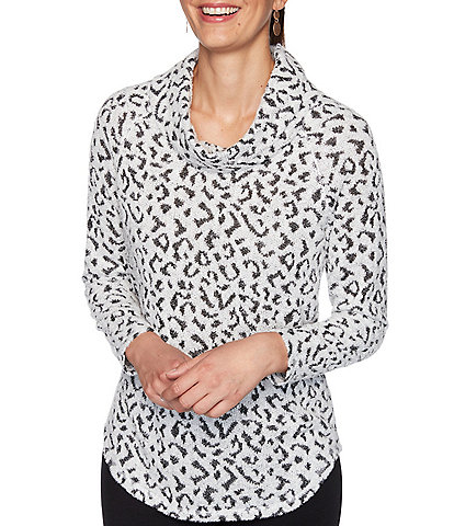 Ruby Rd. Petite Size Leopard Print Cowl Neck Knit Pullover