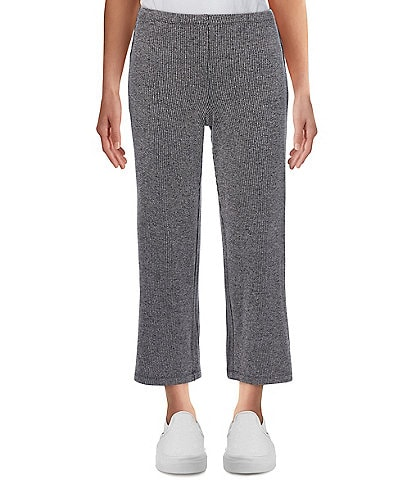Ruby Rd. Petite Size Marled Rib Knit 4-Way Stretch Pull-On Wide Leg Ankle Pants
