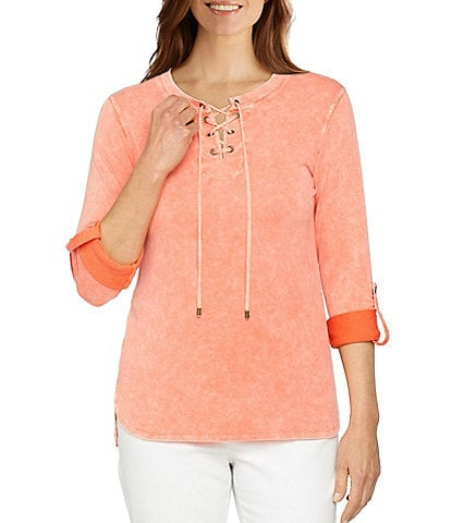 Ruby Rd. Petite Size Mineral Wash Soft French Terry Crew Neck Lace-Up Front Roll-Tab Sleeve Top