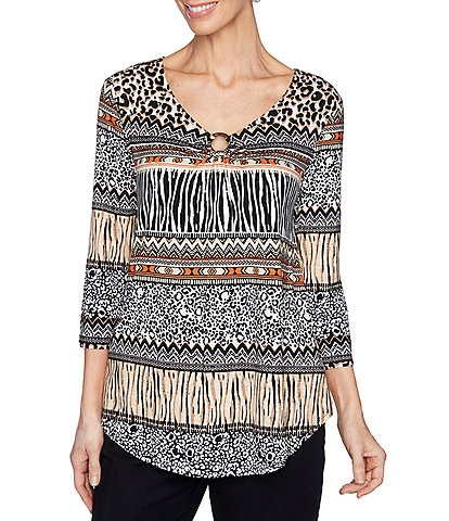 Ruby Rd. Petite Size Mixed Animal Print Ring-Neck Detail 3/4 Sleeve Knit Top