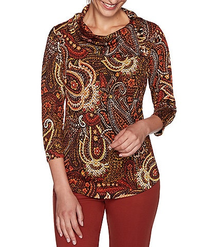 Ruby Rd. Petite Size Paisley Print Cowl Neck 3/4 Sleeve Top