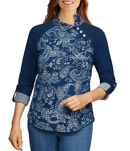Ruby Rd. Petite Size Paisley Print French Terry Side Button Mock Neck 3/4 Roll-Tab Sleeve Top