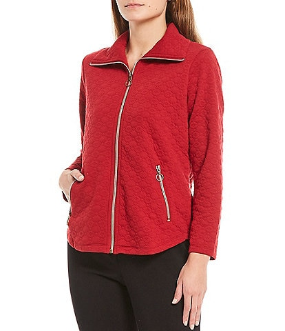 Ruby Rd. Petite Size Point Collar Quilted Knit Zip Jacket