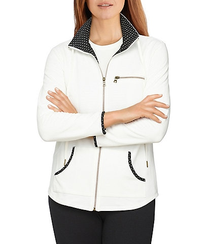 Ruby Rd. Petite Size Polka Dot Contrast Trim Long Sleeve Zipper Front French Terry Jacket