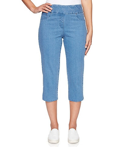 Ruby Rd. Petite Size Pull-On Extra Stretch Denim Cropped Capri Pant