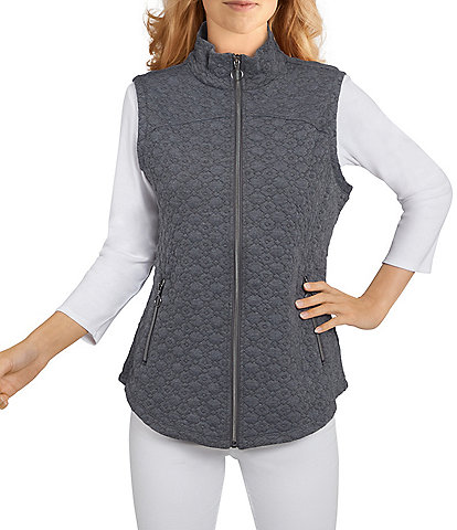 Ruby Rd. Petite Size Quilted Knit Mock Neck Zipper Front Sleeveless Vest