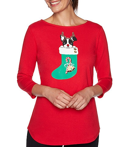 Ruby Rd. Petite Size Reindeer Pup Print Button Detail Boat Neck 3/4 Sleeve Knit Top