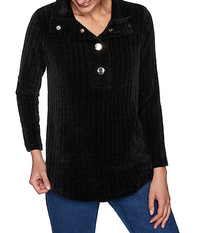 Ruby Rd. Petite Size Ribbed Chenille Point Collar Snap Front Long Sleeve Pullover