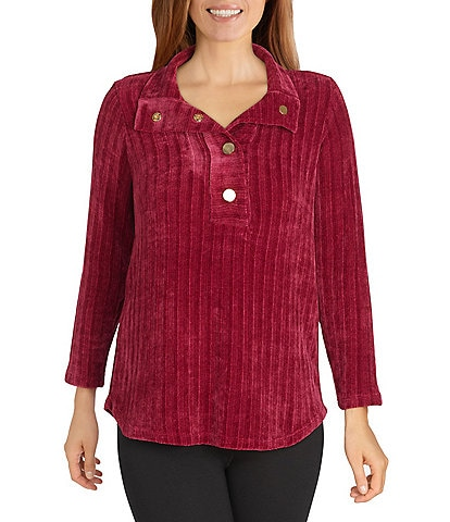 Ruby Rd. Petite Size Ribbed Chenille Portrait Collar Bracelet Sleeve Half Placket Snap Front Pullover