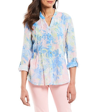 Ruby Rd. Petite Size Roll-Tab Sleeve Spring Blossoms Floral Print Button Front Pleated Gauze Top