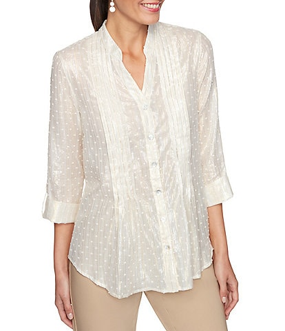 Ruby Rd. Petite Size Shimmer Metallic Stripe Clip Dot Roll-Tab Sleeve Button Front Top