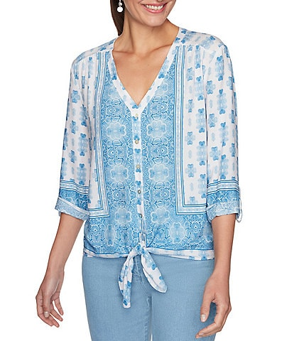 Ruby Rd. Petite Size Silky Foulard Border Print Roll-Tab Sleeve Button Down Tie-Front Top