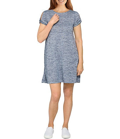 Ruby Rd. Petite Size Silky Knit Terry Space Dyed Stripe Jewel Neck Cold Shoulder Sleeve Dress