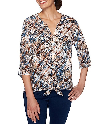 Ruby Rd. Petite Size Spotted Weave Print Crepe Georgette Roll-Tab Sleeve Button Down Tie-Front Top