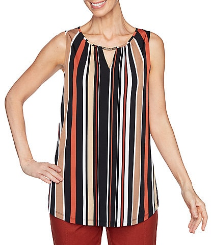 Ruby Rd. Petite Size Vertical Stripe Print Keyhole Hardware Neck Detail Sleeveless Knit Top