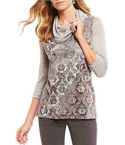 Ruby Rd. Petite Size Wallflower Patchwork Print Cowl Neck Top