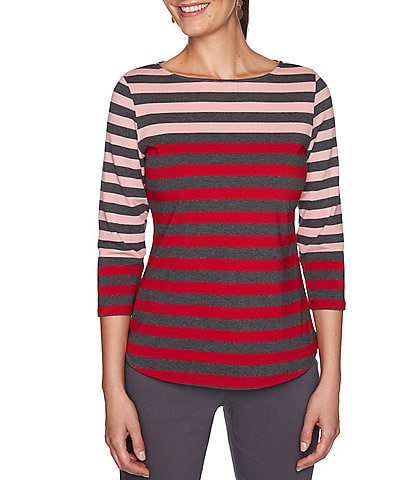 Ruby Rd. Petite Size Yarn Dye Engineered Stripe Boat Neck 3/4 Sleeve Top