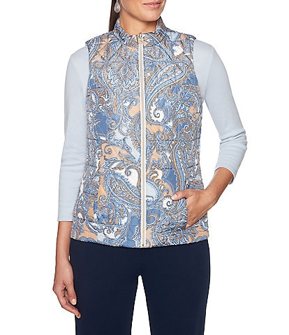 Ruby Rd. Petite Size Zipper Front Swirl Paisley Print Quilted Reversible Vest