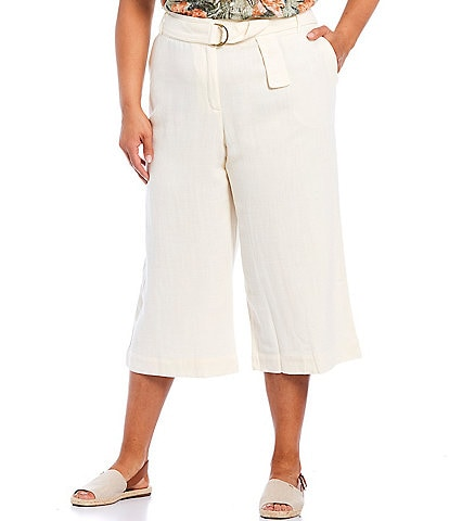 Ruby Rd. Plus Size Belted Rayon-Blend Capri Pants