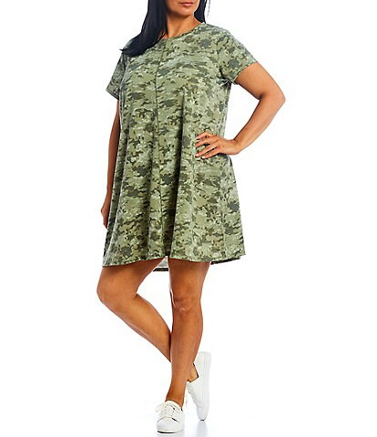 Ruby Rd. Plus Size Camo Baby French Terry Knit Crew Neck Short Sleeve T-Shirt Dress