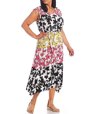 Ruby Rd. Plus Size Chic Floral Blocking Print V-Neck Shoulder Tie Midi Dress