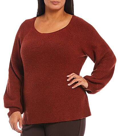 Ruby Rd. Plus Size Cozy Raglan Puff Sleeve Pullover Sweater