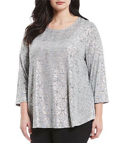 Ruby Rd. Plus Size Deco Shimmer Foil Print Top