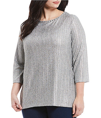 Ruby Rd. Plus Size Dotted Line Metallic Foil Knit Top