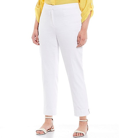 Ruby Rd. Plus Size Double Face Stretch Embellished Side Slit Ankle Pants