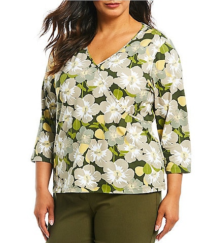 Ruby Rd. Plus Size Hibiscus Floral Print Embellished Mock Surplice Cotton Blend Top