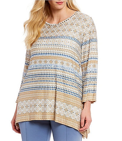 Ruby Rd. Plus Size Embellished Neck Geo Print Knit Top