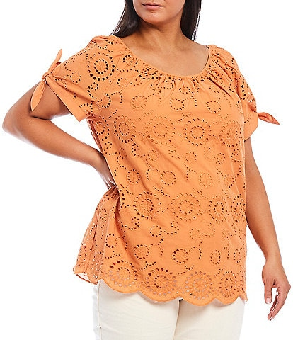 Ruby Rd. Plus Size Embroidered Eyelet Cotton Scoop Neck Short Tie Sleeve Scallop Hem Top