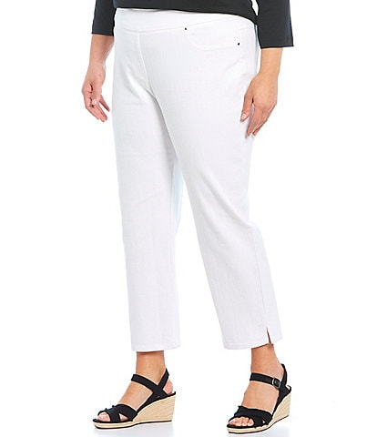 Ruby Rd. Plus Size Extra Stretch Denim Straight Leg Ankle Pull-On Pants