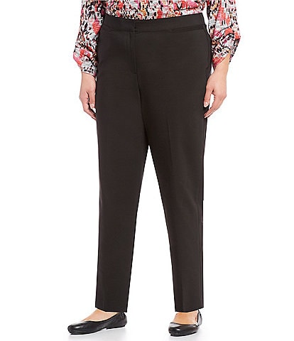 Ruby Rd. Plus Size FF Double Face Stretch Ankle Pants