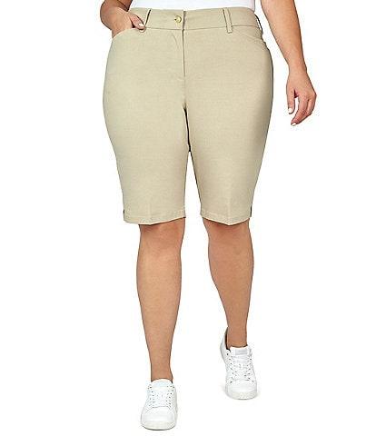 Ruby Rd. Plus Size Flat Front Solar Millenium Tech Shorts