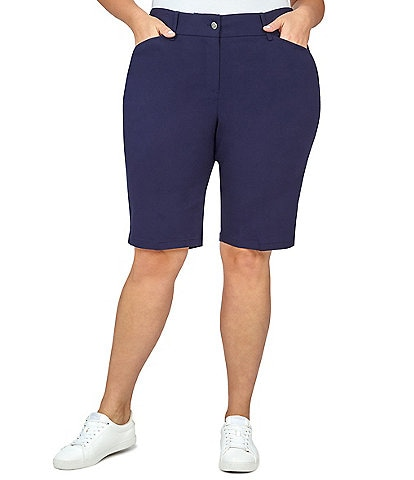 Ruby Rd. Plus Size Flat Front Solar Millenium Tech Shorts
