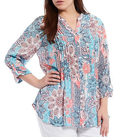 Ruby Rd. Plus Size Floral Print Silky Pleated Button Front 3/4 Sleeve Top