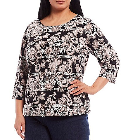 Ruby Rd. Plus Size Floral Puff Print Knit Jersey Boat Neck 3/4 Sleeve Top