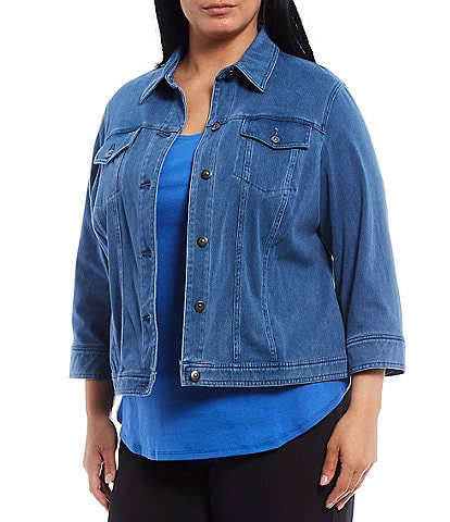 Ruby Rd. Plus Size Knitted Indigo Twill Button Down Jacket