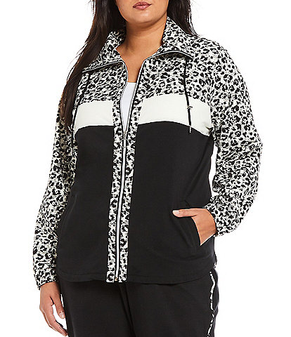 Ruby Rd. Plus Size Leopard Print Color Block Drawstring Collar French Terry Zip Up Jacket