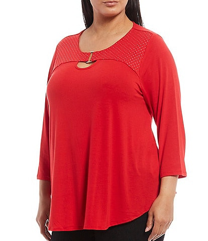 Ruby Rd. Plus Size Metallic Foil Print Knit Round Neck 3/4 Sleeve Top