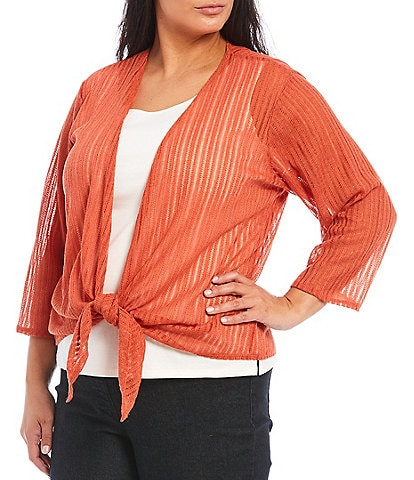 Ruby Rd. Plus Size Metallic Knit 3/4 Sleeve Tie-Front Cardigan