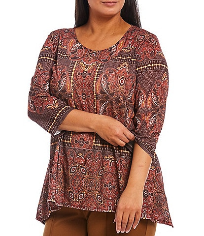 Ruby Rd. Plus Size Paisley Kaleidoscope Print Scoop Neck 3/4 Sleeve Sharkbite Hem Top