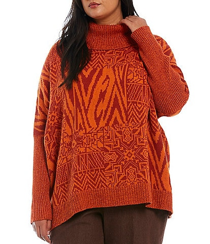 Ruby Rd. Plus Size Patchwork Print Ribbed Contrast Turtleneck Dolman Long Sleeve Oversized Sweater