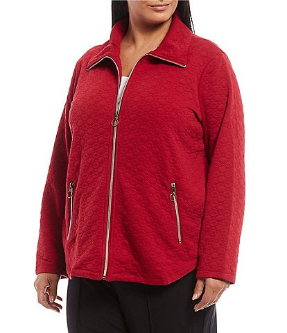 Ruby Rd. Plus Size Point Collar Quilted Knit Zip Front Jacket