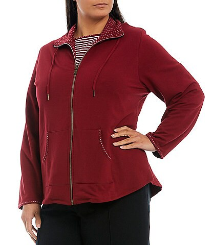 Ruby Rd. Plus Size Polka Contrast Trim Long Sleeve Zipper Front French Terry Jacket