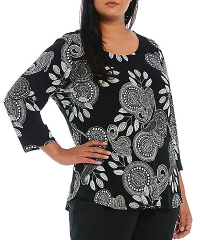 Ruby Rd. Plus Size Puff Paisley Medallion Print Round Neck 3/4 Sleeve Top