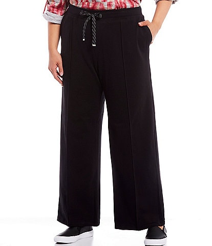 Ruby Rd. Plus Size Pull-On Drawstring Waist Flared Straight Leg Pants