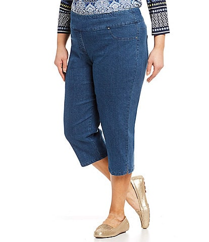 Ruby Rd. Plus Size Pull-On Extra Stretch Denim Cropped Capri